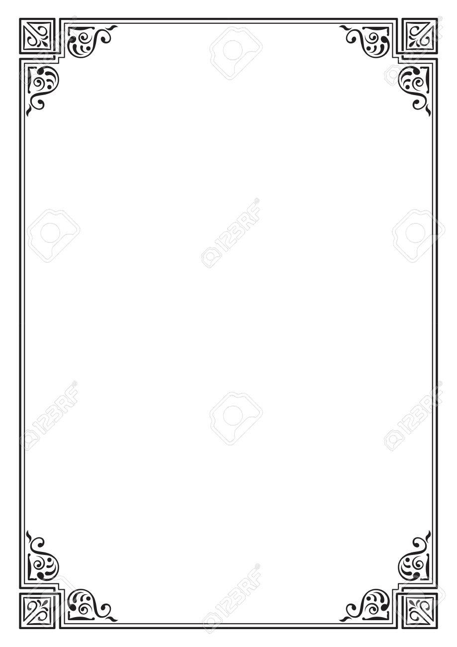 Ornate Black Rectangular Frame, Page Decoration, Corners. A4 ...