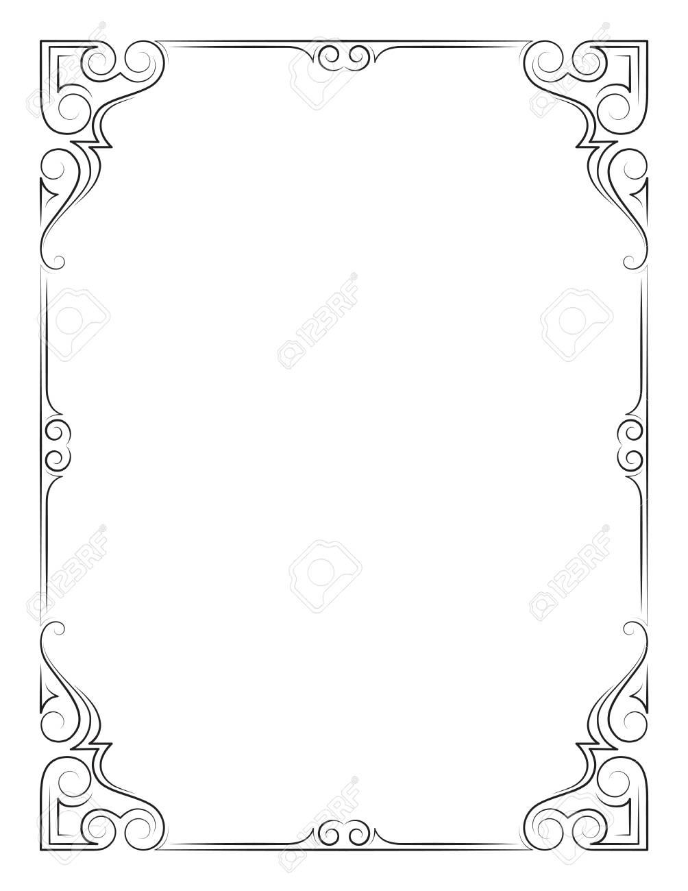 ornate rectangular black frame calligraphic lines letter page