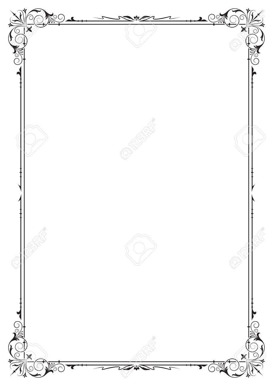 Schwarzer Rechteckiger Verzierter Rahmen, Seitendekoration. A4 ...