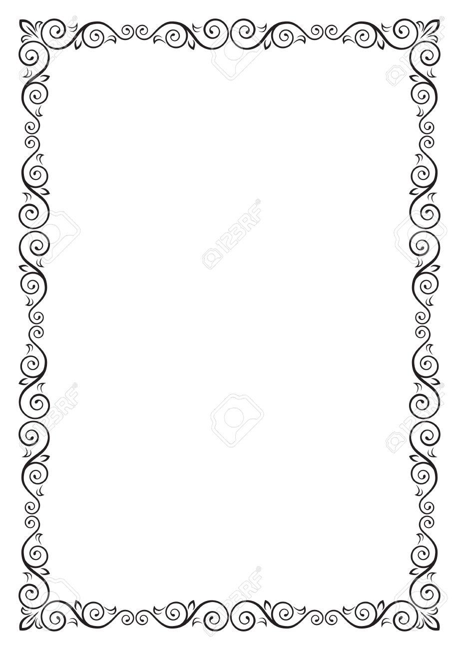 Ornate Rectangular Black Frame For Page Decoration, Title, Card ...