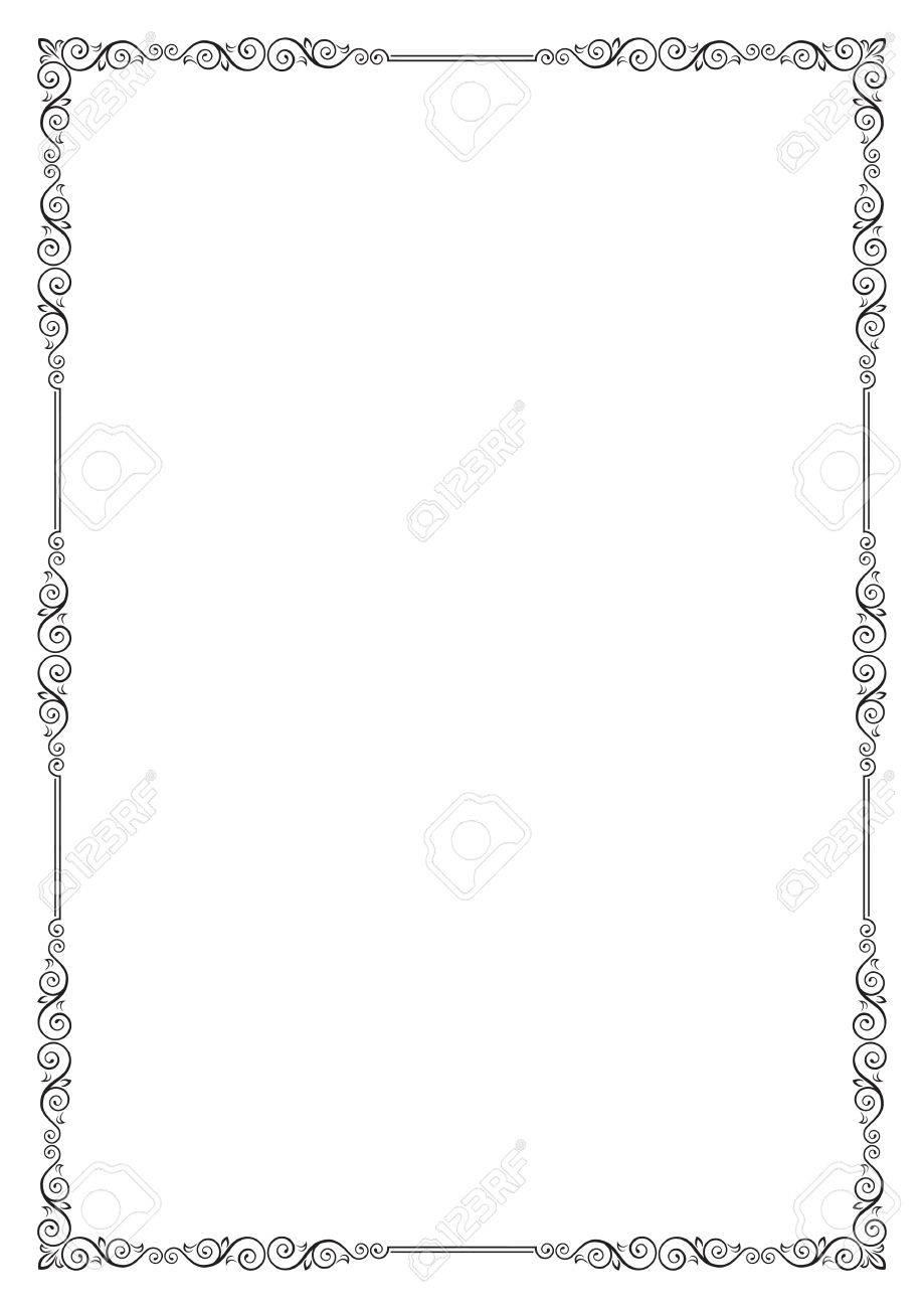 Dekorative Schwarze Rahmen. Vorlage Für Zertifikat, Diplom, Label ...