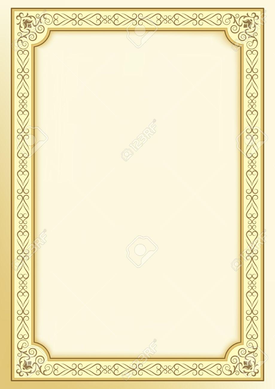 Dekorativer Goldener Rahmen Auf Hintergrund. Vorlage Für Zertifikat ...