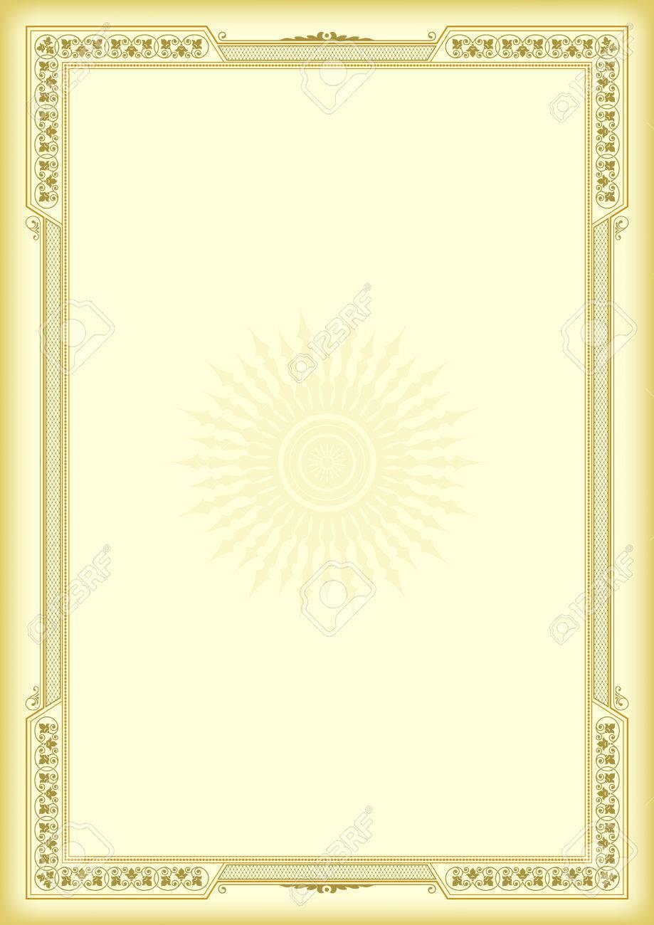 Dekorativer Rahmen Auf Gelbem, Goldenem Hintergrund. Vorlage Für ...