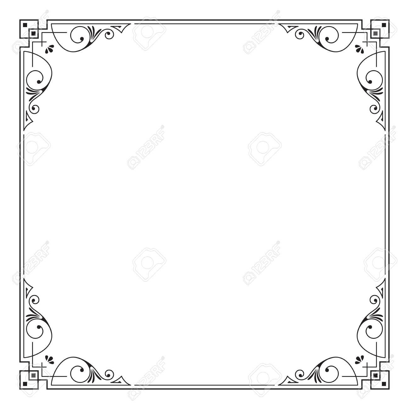 Marco Cuadrado Negro Decorativo. Plantilla Para Tarjeta, Invitación ...