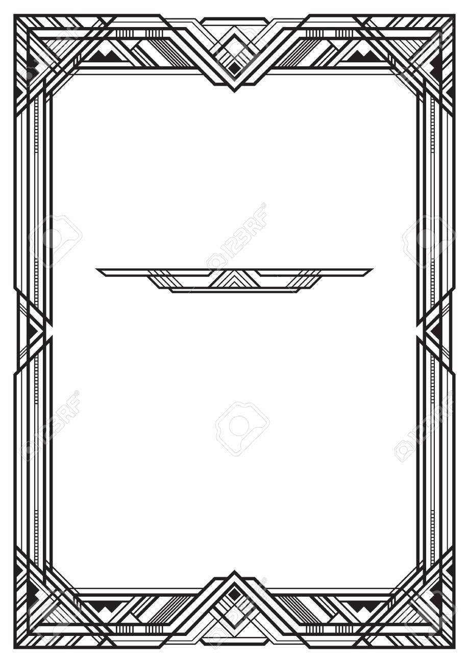 Marco Rectangular Negro, Estilo Art Deco. Proporciones De Página A3 ...