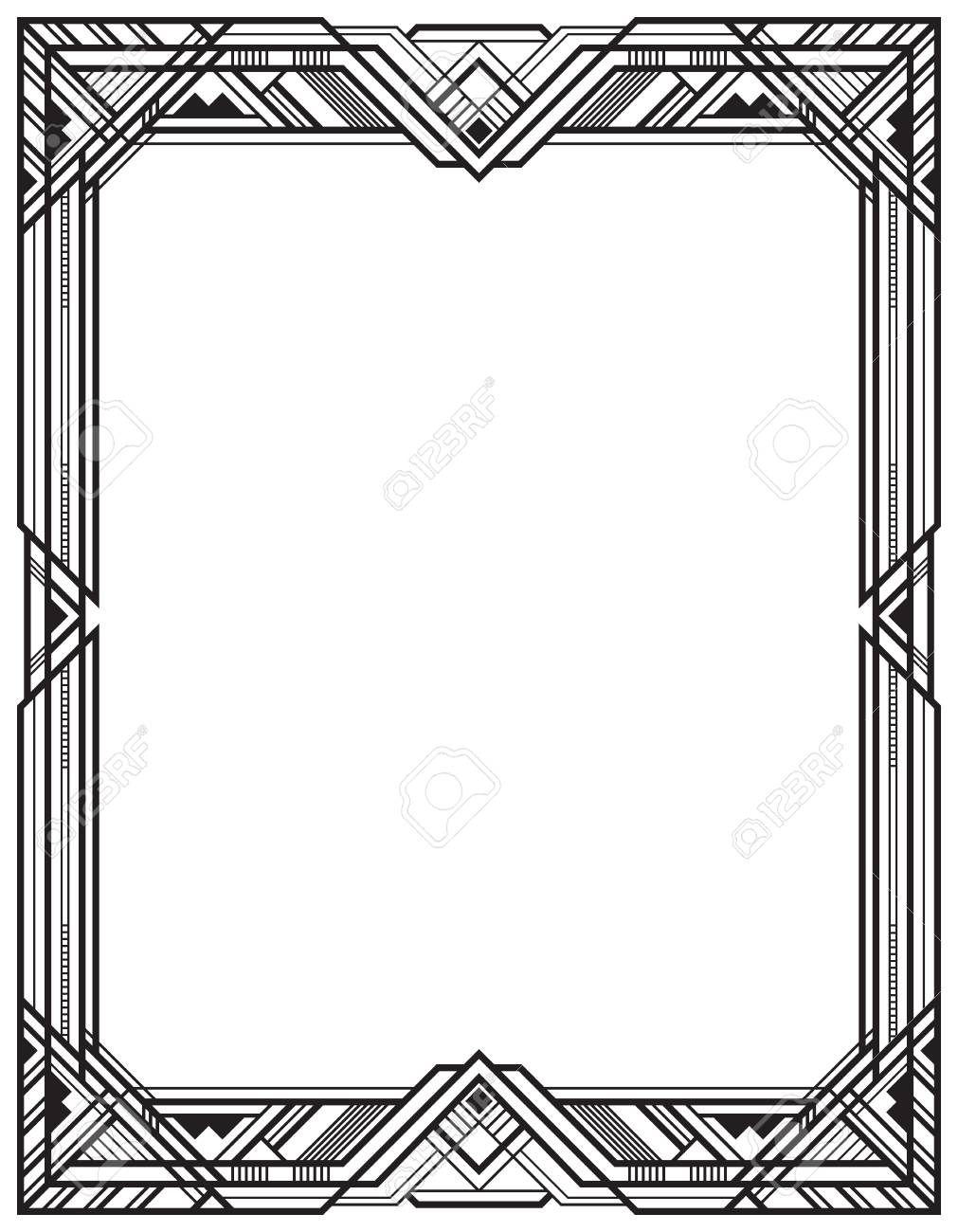 Rectangular Black Retro Frame Art Deco Style Royalty Free Cliparts