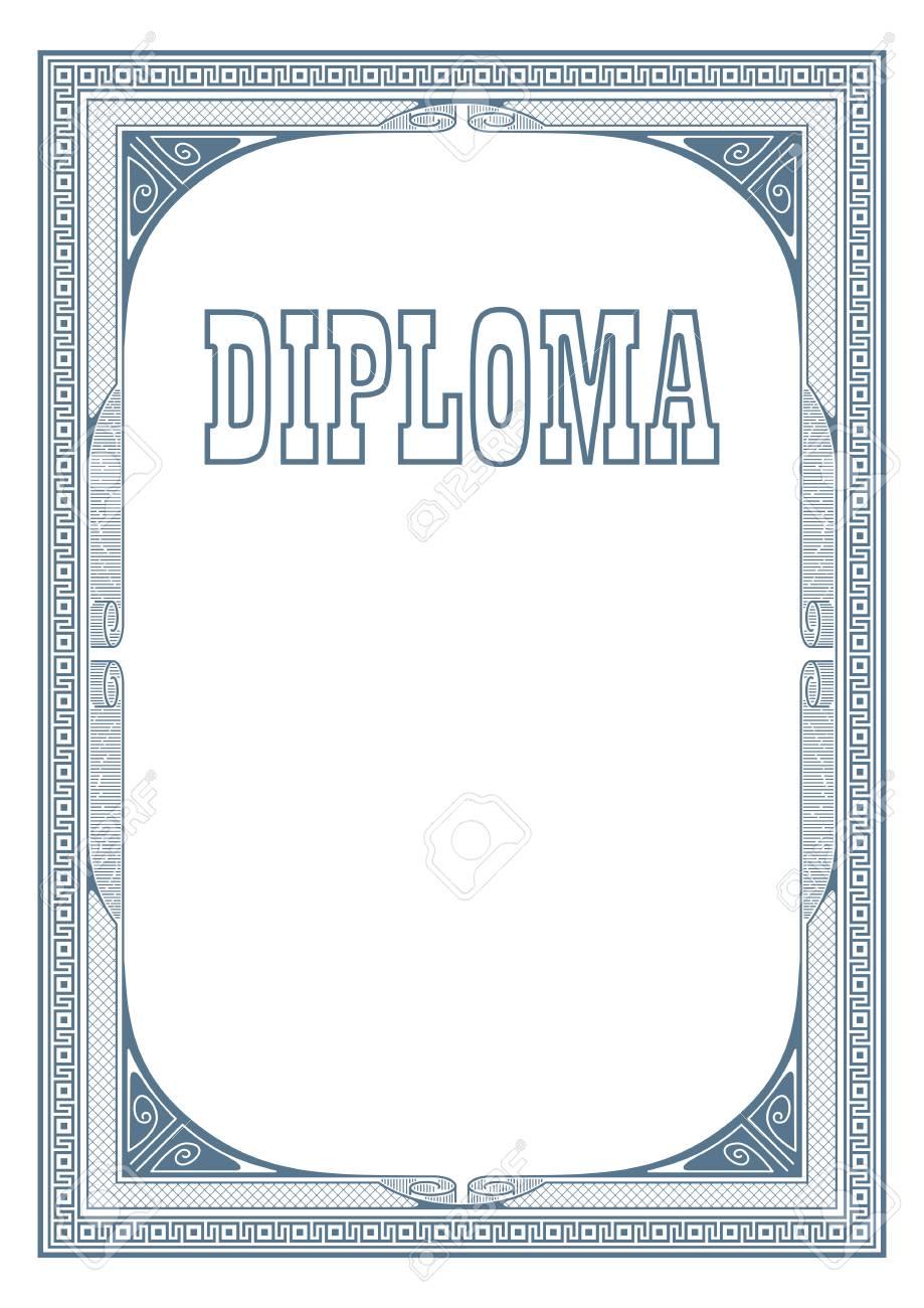 Retro Marineblau Rahmen Und Schriftzug Diplom. A3 Seitengröße ...