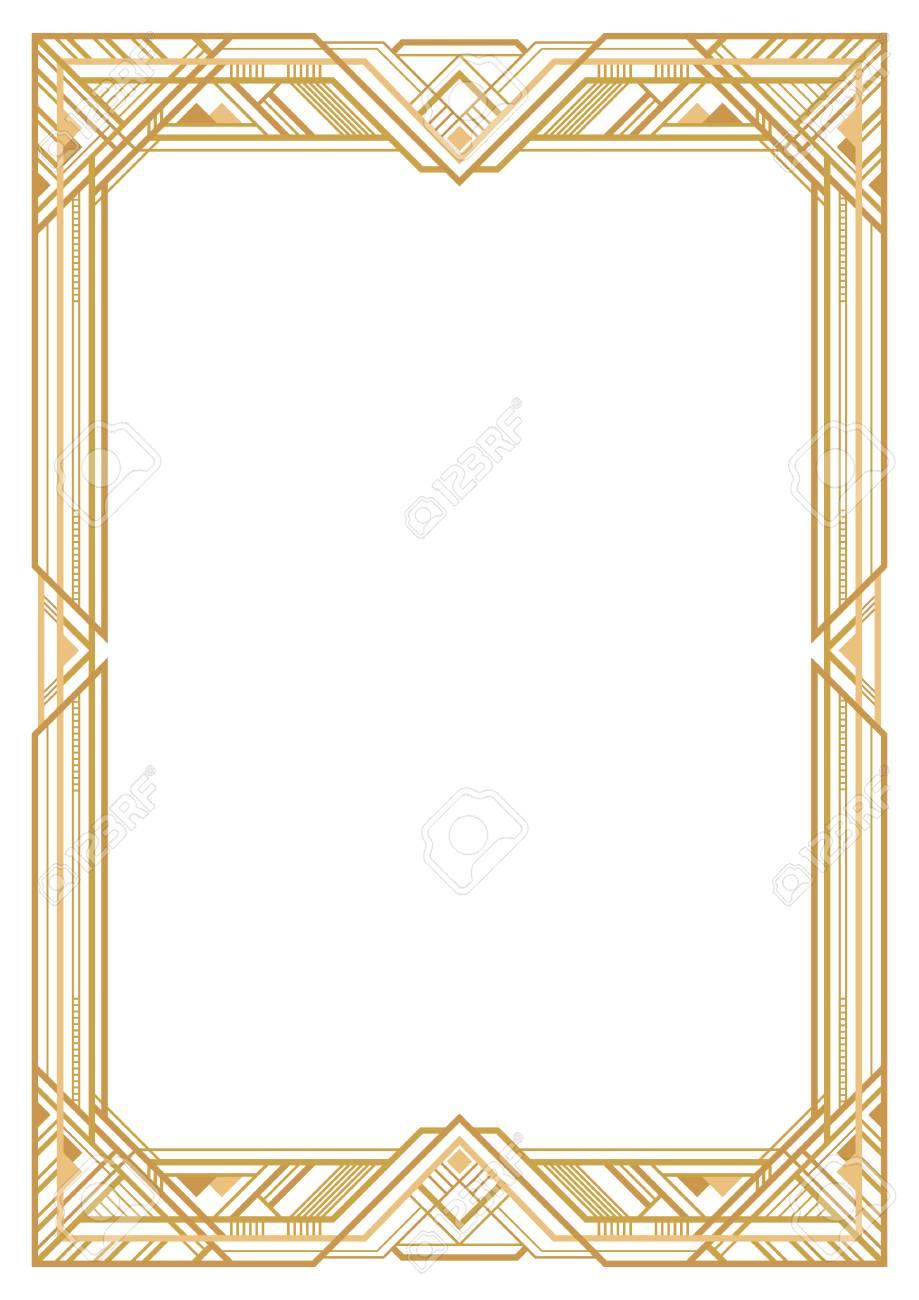 Rectangular Golden Retro Frame, Art Deco Style Of 1920s. Transparent ...