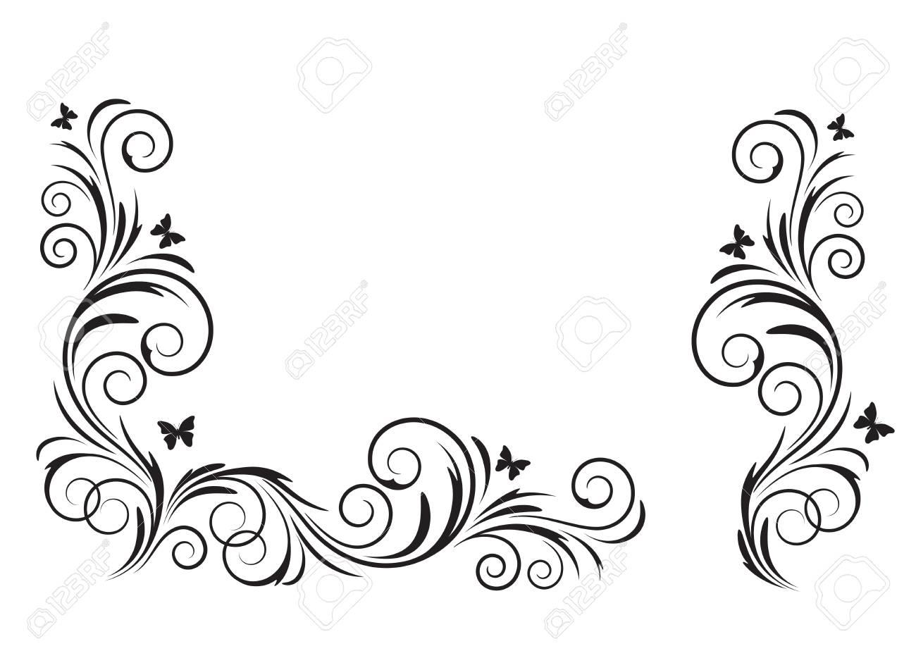 Decorative black floral element and corner, stencils.