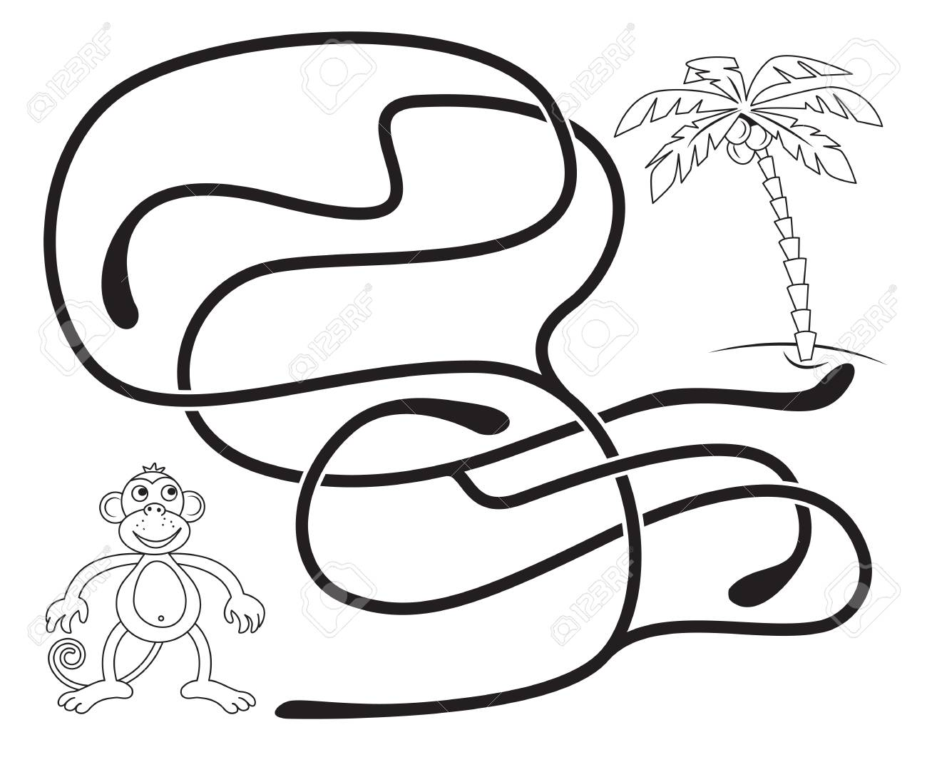 Maze Game For Kids Help The Monkey To Get To The Coconut Palm