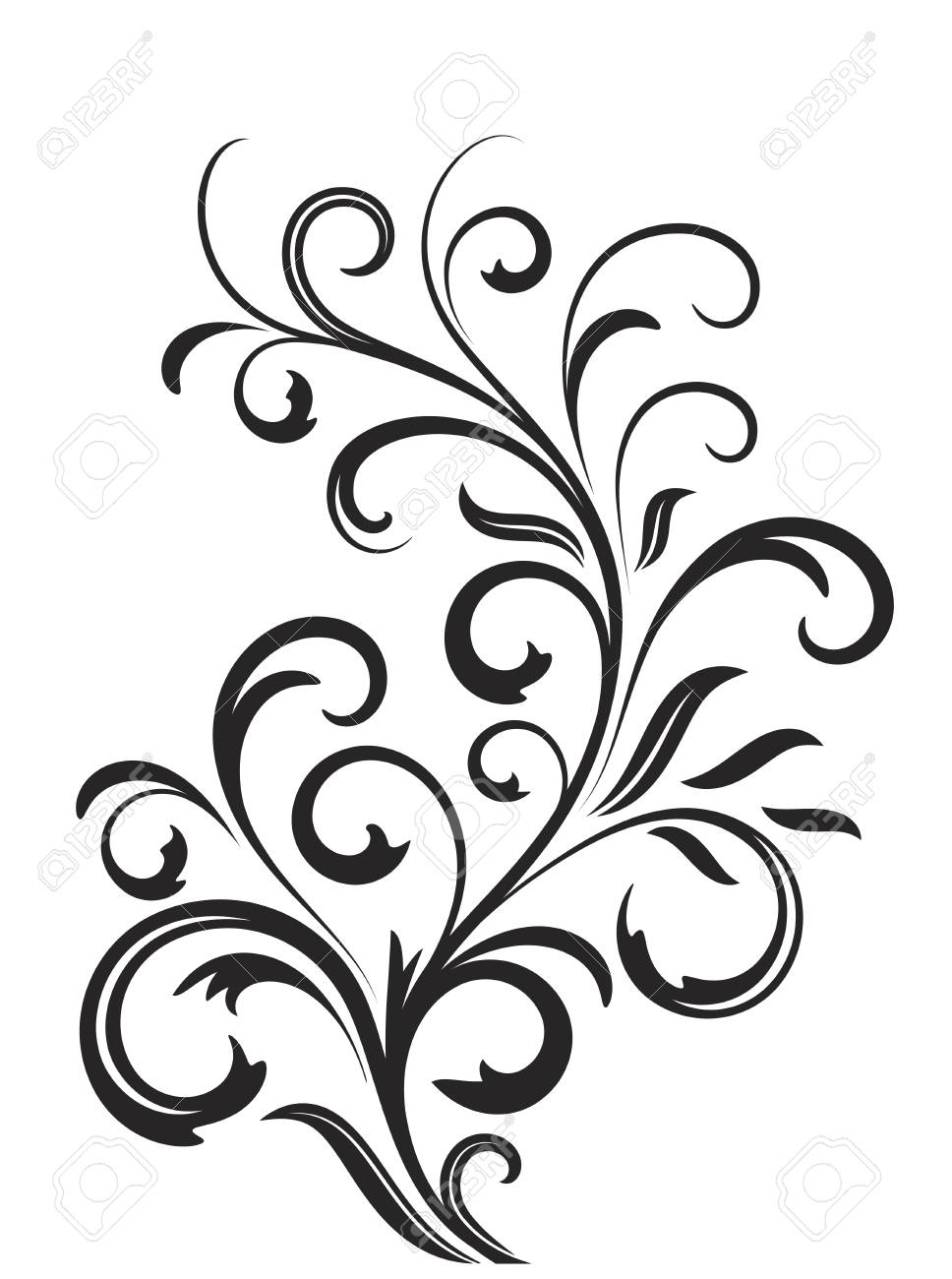 Abstract fancy flowers, stencil, decoration for card, window,