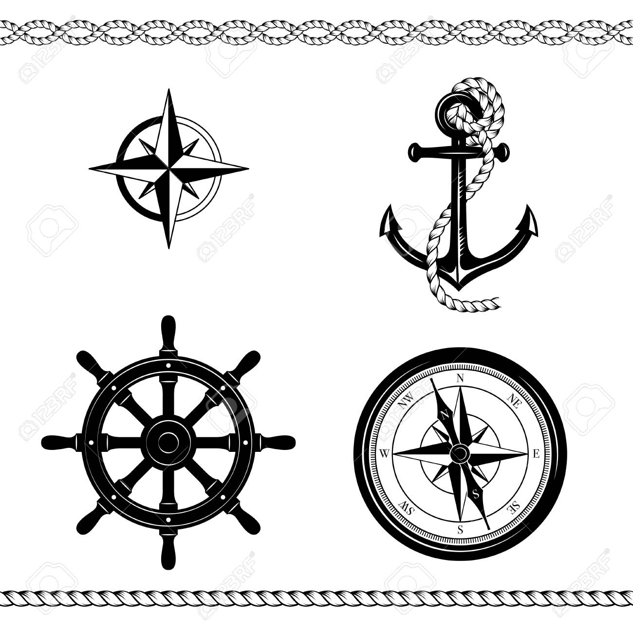 Set of nautical symbols. Anchor, ship steering wheel, rose of wind, ship steering wheel, borders. Black and white colors. - 127679804