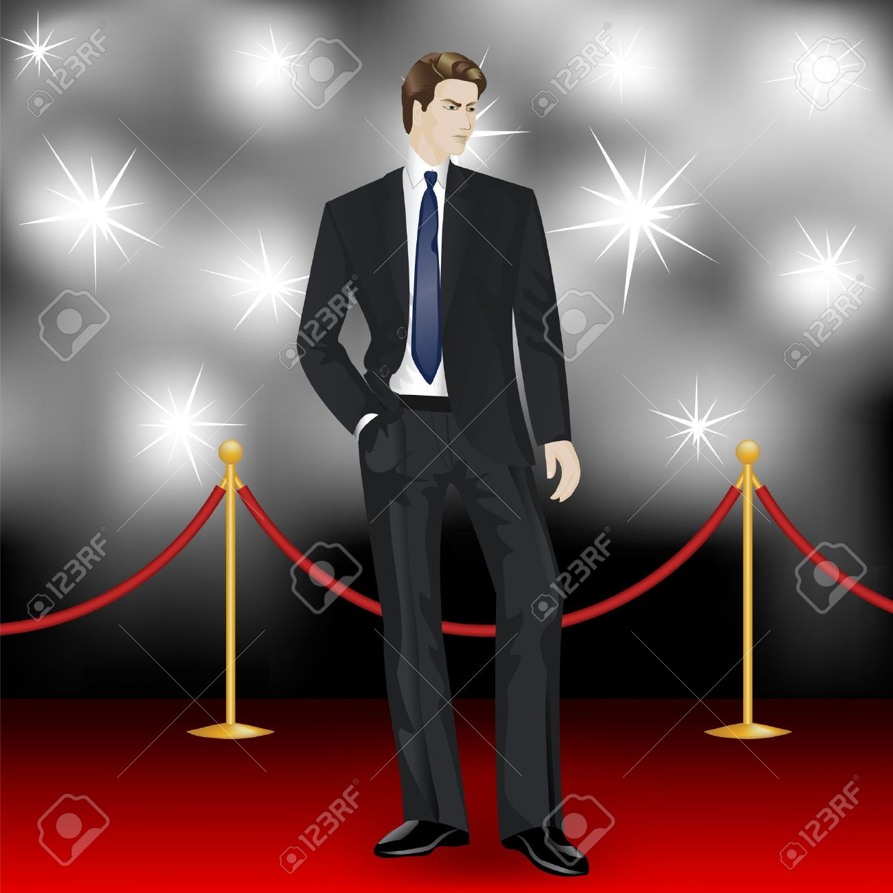 famous elegant man in suit posing in front of the paparazzi on the red carpet Stock Vector - 15307023