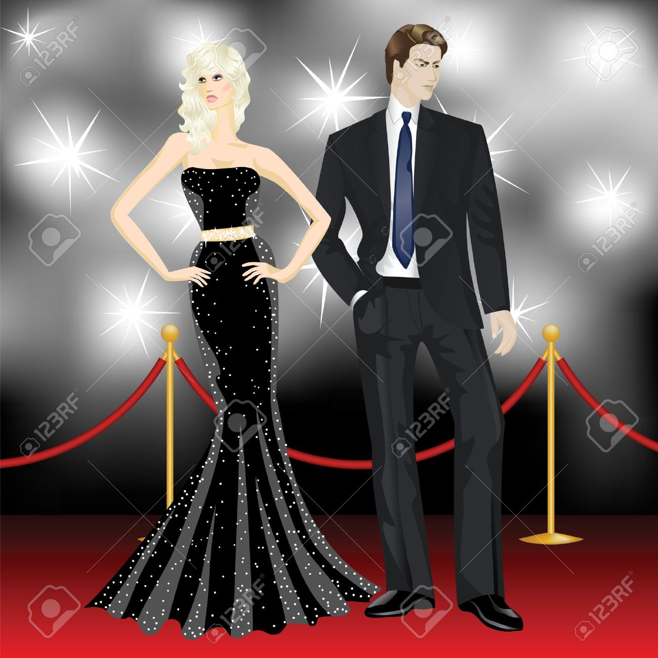 famous luxury couple, fashion woman and elegant man in front of the paparazzi on the red carpet Stock Vector - 15307030