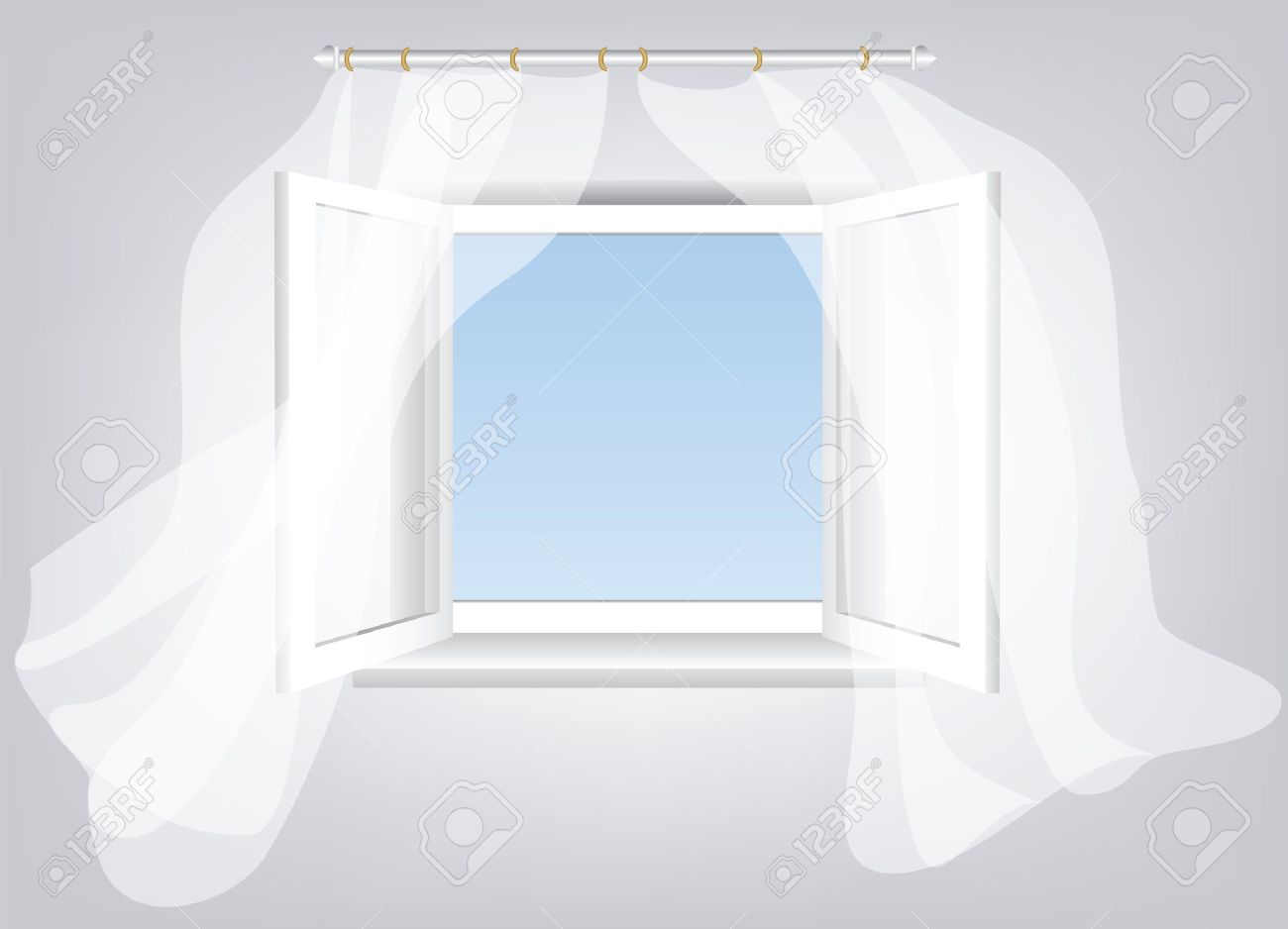 Room Opened Window With Empty Space In Blue Sky And White Flowing