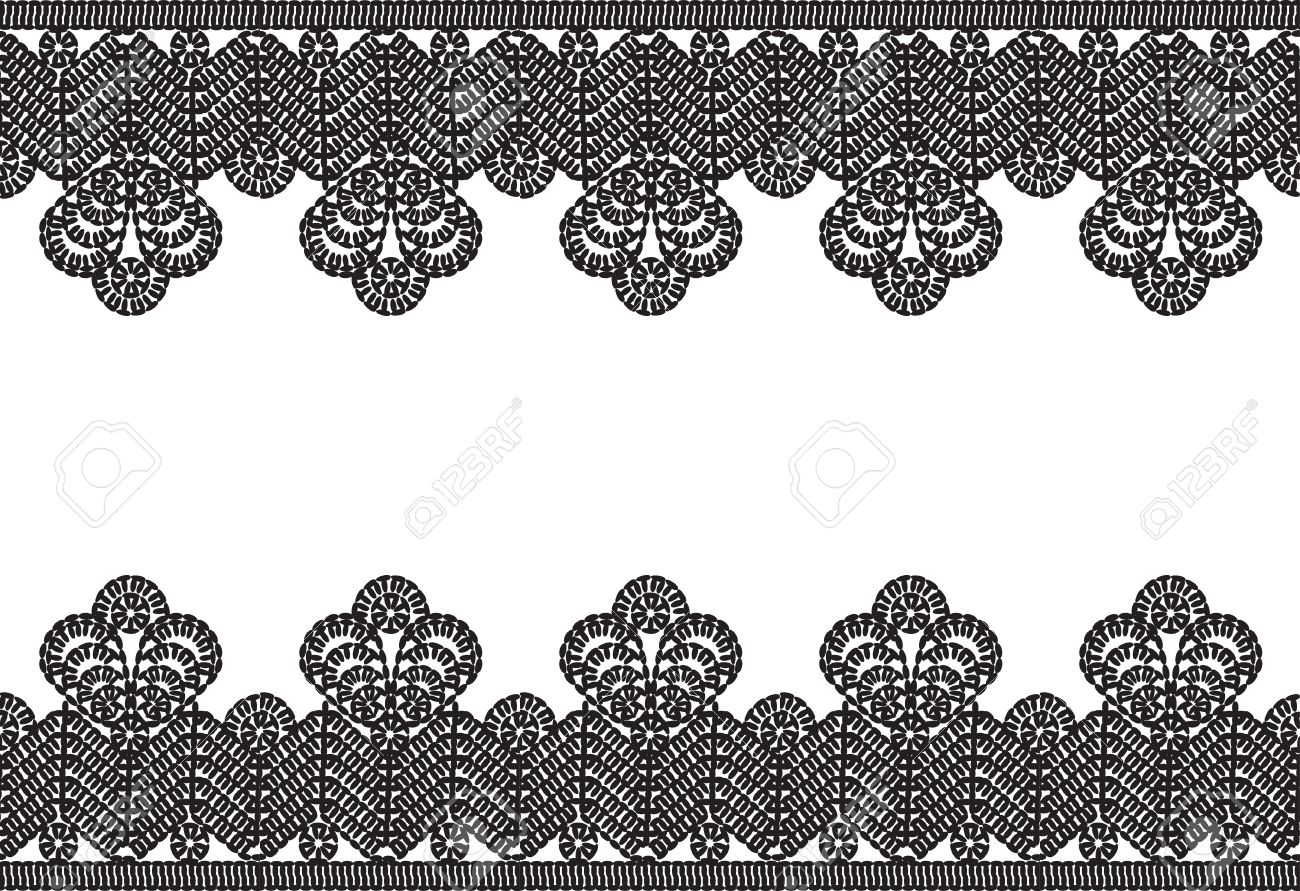 Horizontal Seamless White Background With Black Vintage Crocheted Lace Frame Stock Vector