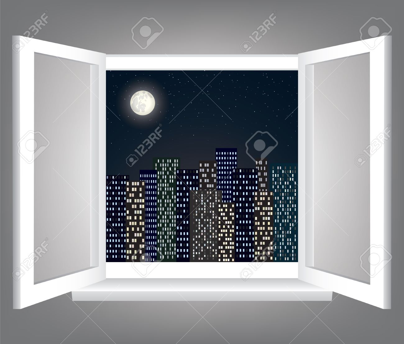 Open window at night - Room Opened Window With Night City Scape Stock Vector 15307063