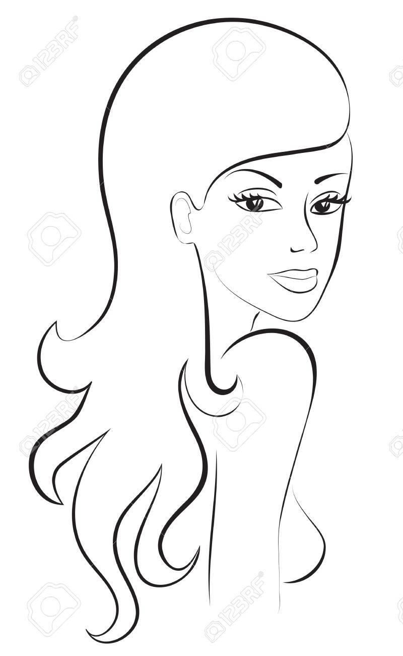 Fashion sketch of beautiful woman with long hair portrait Stock Vector - 15306967
