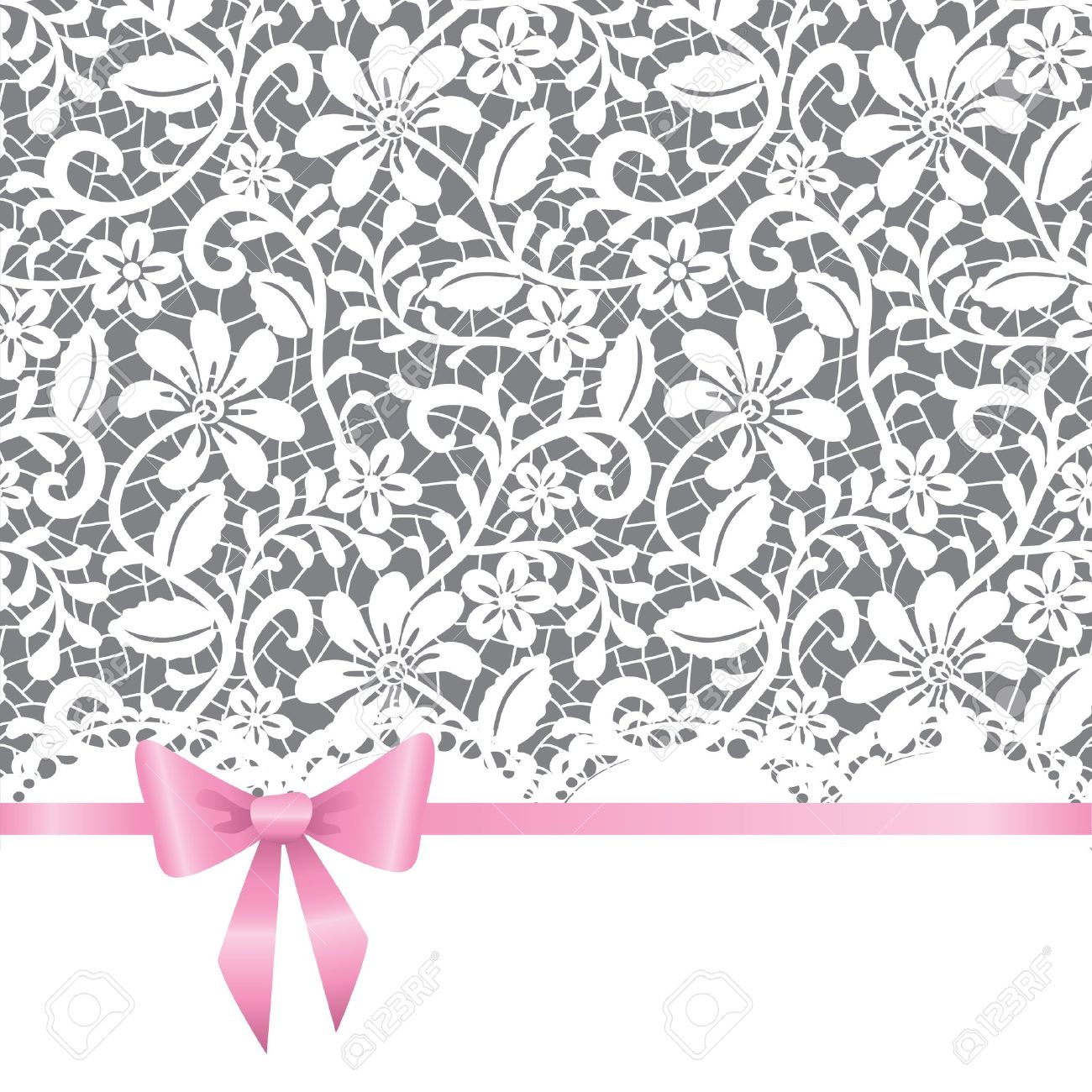 template for wedding, invitation or greeting card with lace background and pink ribbon - 15427657