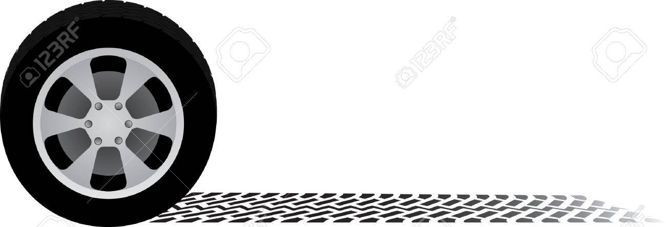 car wheel and tire track Stock Vector - 15709962