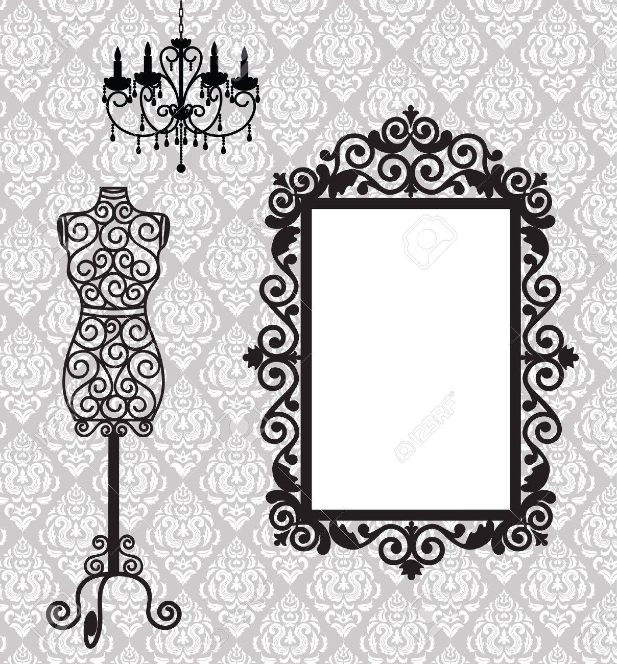 Antique frame, mannequin and chandelier - 15799233