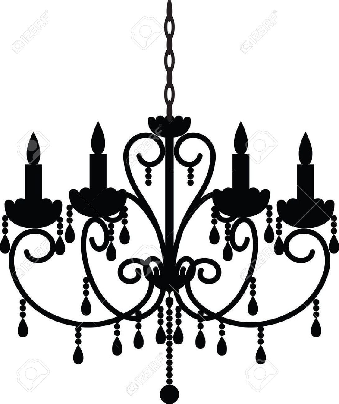 旧式なシャンデリアのシルエットのイラスト素材ベクタ Image 15799221