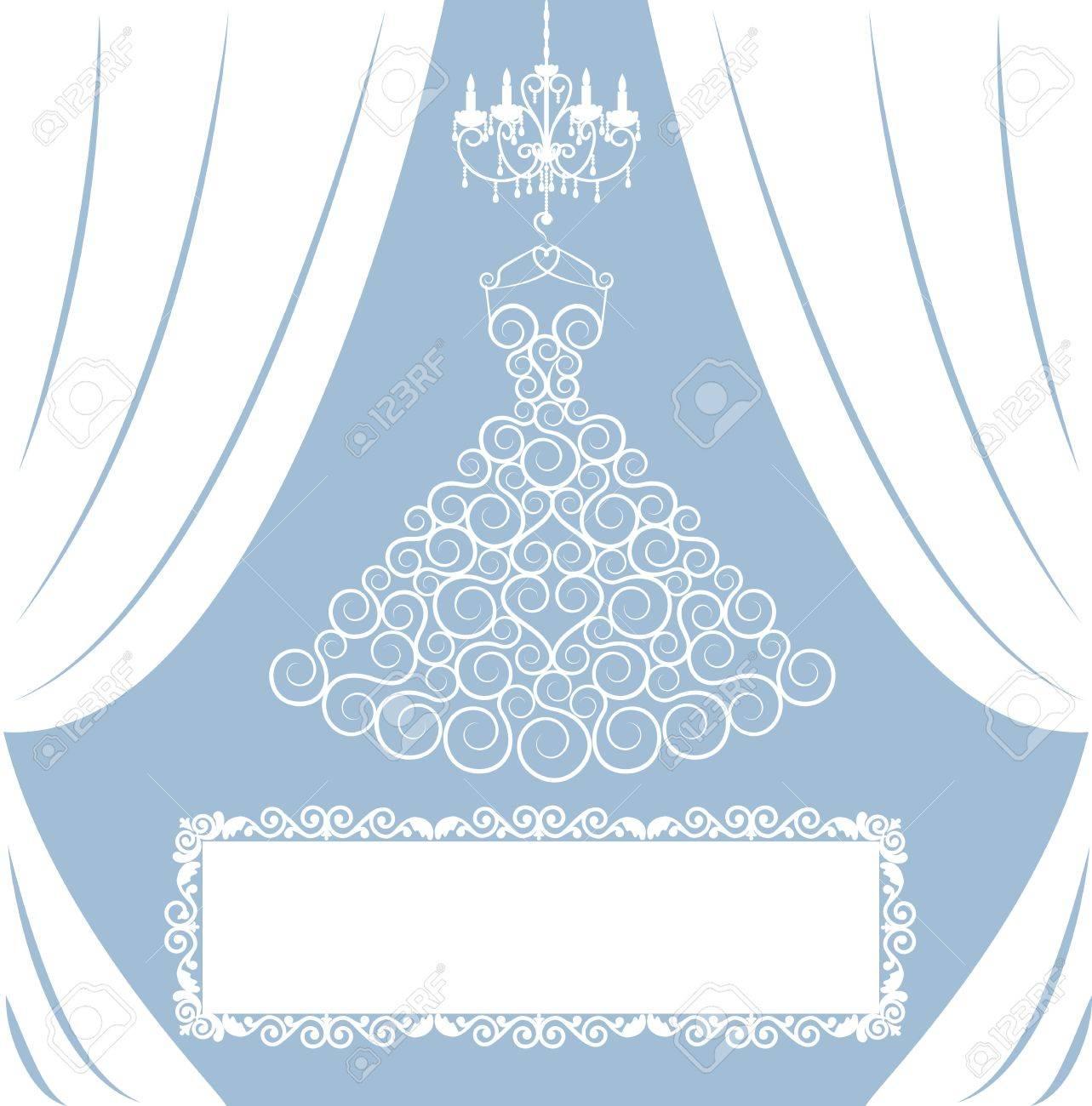 Hochzeitskarte Mit Kleid Auf Kleiderbügel, Weiße Vorhänge, Antike ...