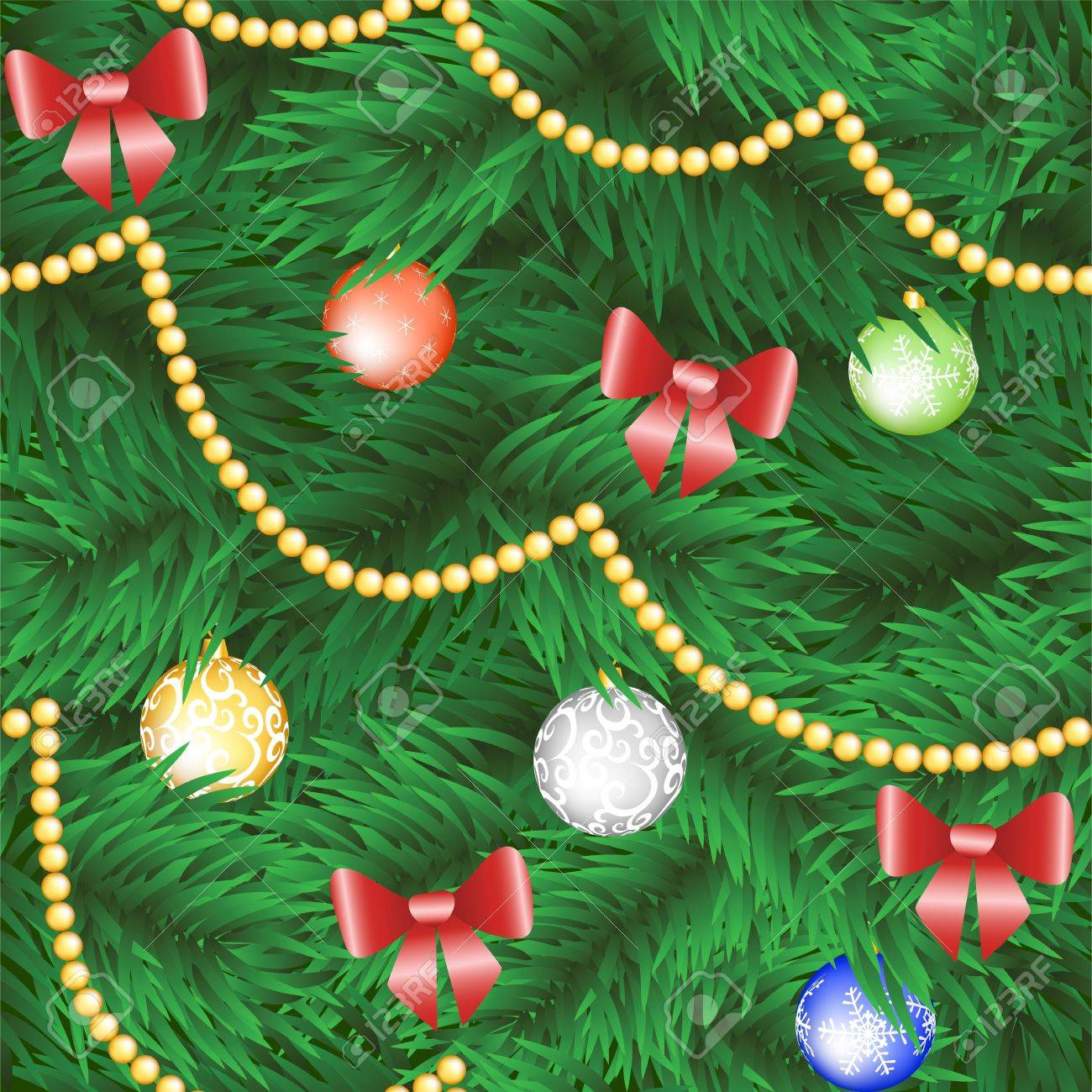 Christmas tree seamless background with bauble and bow Stock Vector - 15931252