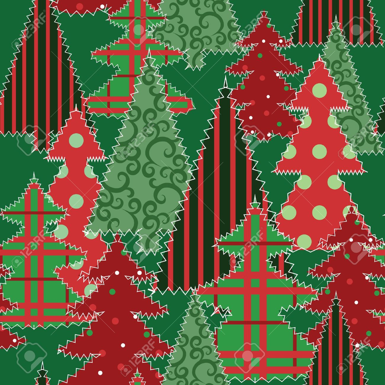 Christmas tree patchwork fabric seamless background Stock Vector - 15931227