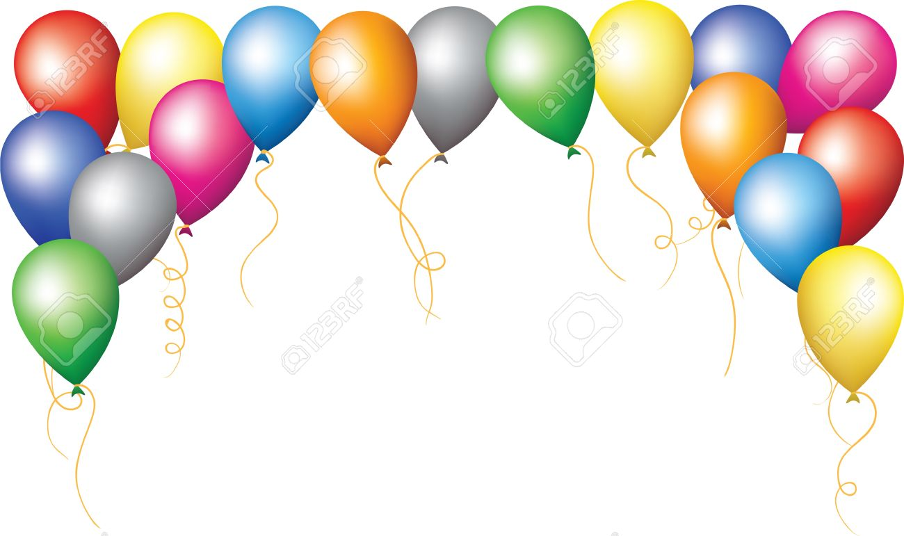 Happy Birthday Holiday Border Of Colourfull Balloons Stock Vector