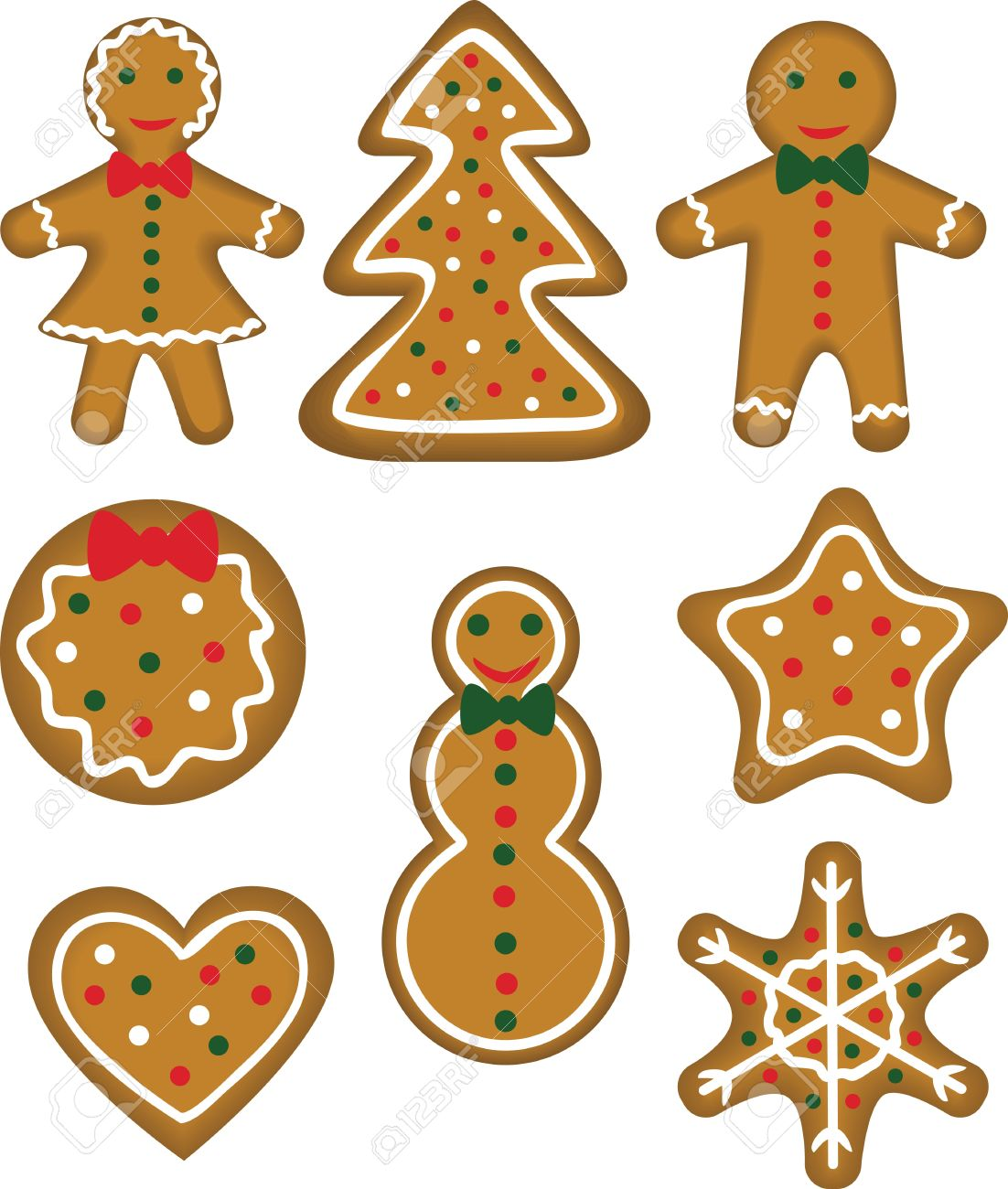 Christmas Cookies Set Paistry Shaped Man, Woman, Tree, Bauble ...