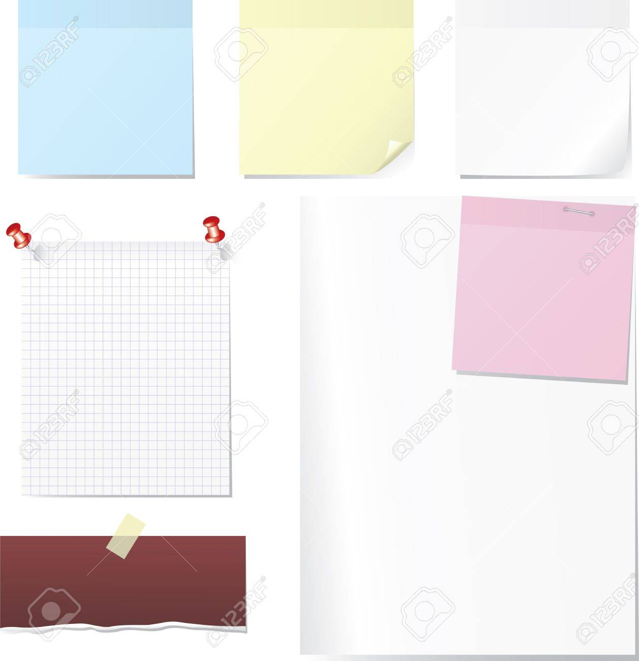 sheets of blank paper post and memo set pin scotch tape vector sheets of blank paper post and memo set pin scotch tape and paperclip set