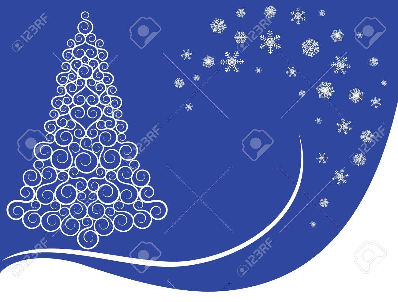 Christmas card with curly tree and snowflakes on blue background Stock Vector - 16478058