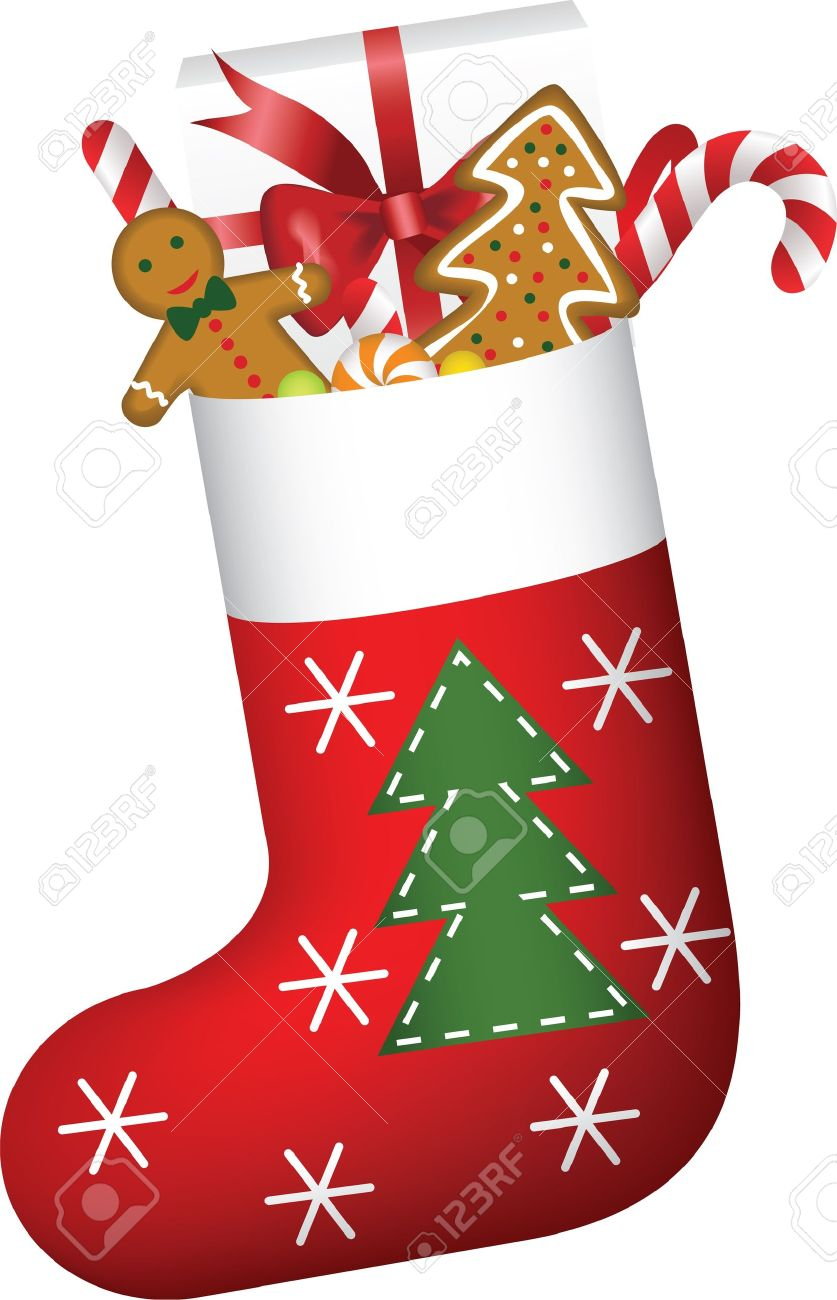 Christmas Stockings Cartoon.Christmas Sock Full Of Candies Cookies And Gift