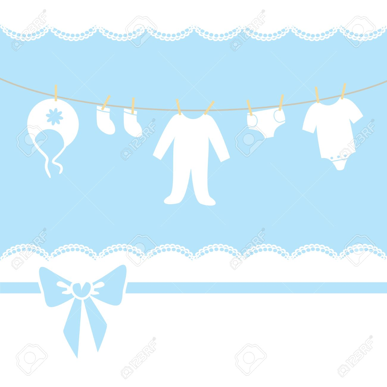 Blue Baby Boy Shower, Arrival, Invitation Or Greeting Card Children Stock  Vector   16703470