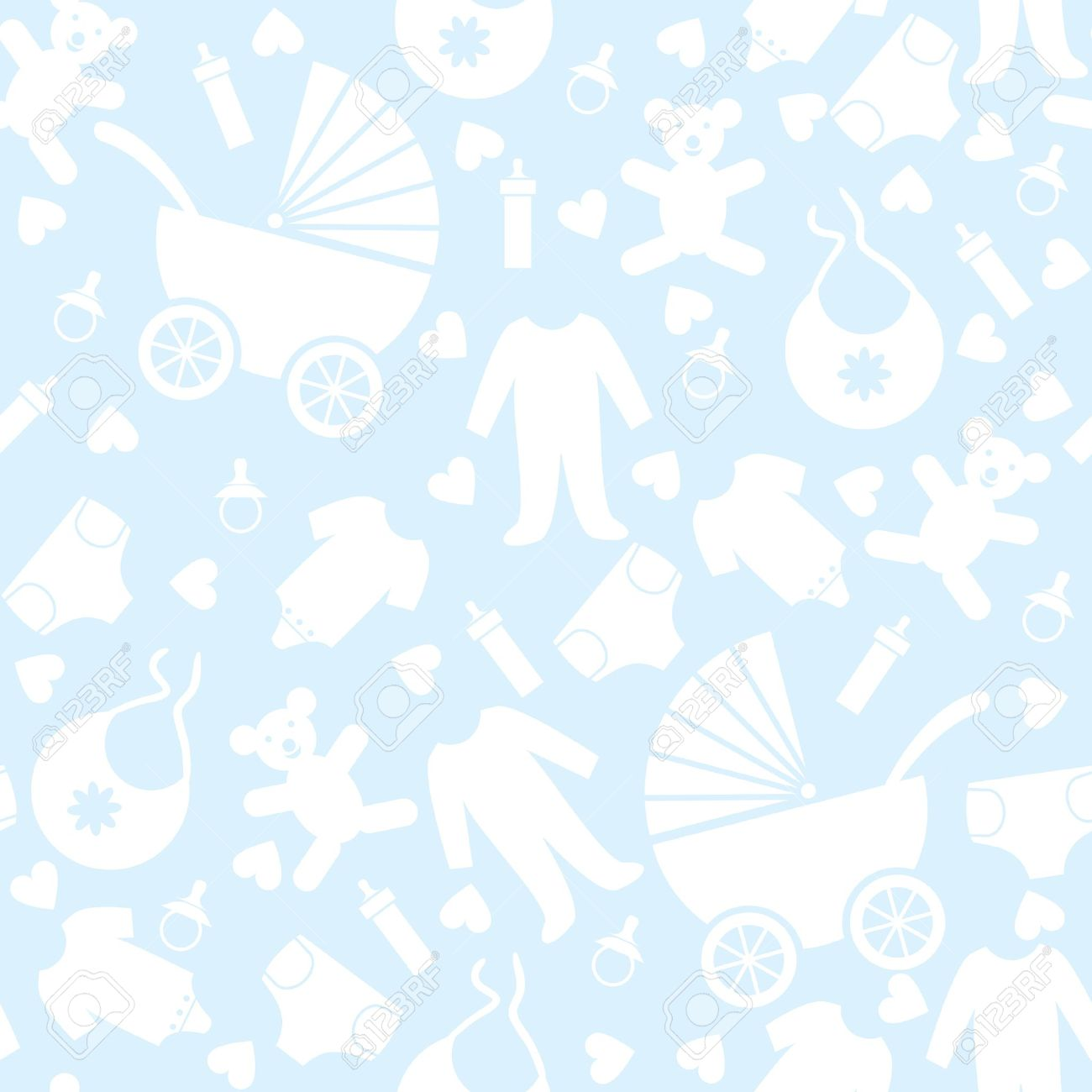 High Quality Seamless Blue Baby Background For Baby Shower Stock Vector   16703471