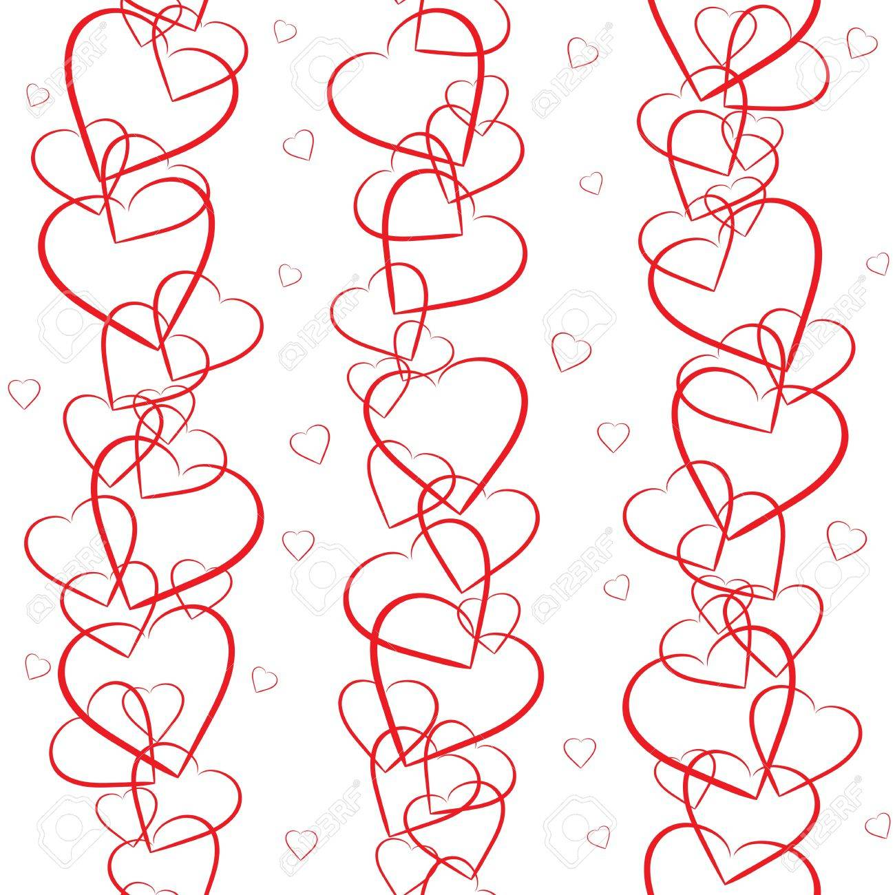 Seamless background with red hearts on white background Stock Vector - 16703469