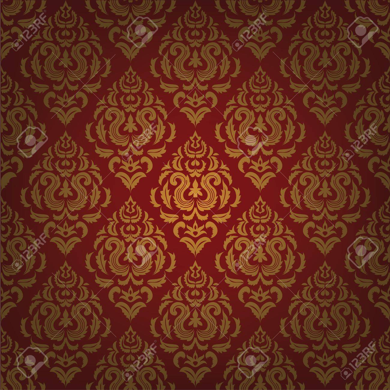 Red Background With Gold Floral Pattern Vintage Wallpaper Stock Vector