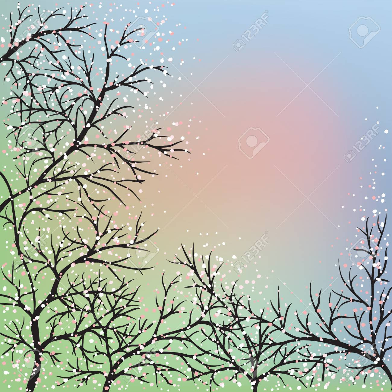 Blooming trees and blue sky, dawn Stock Vector - 17104665
