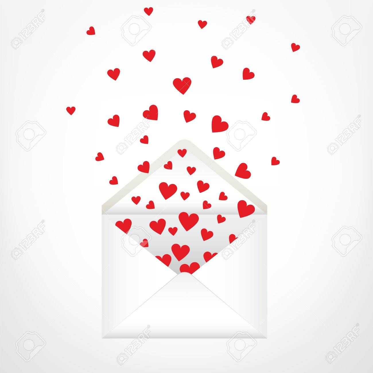 open envelope and hearts love letter stock vector 17311235