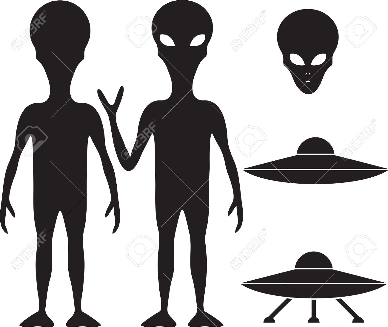 alien and ufo silhouette set royalty free cliparts vectors and