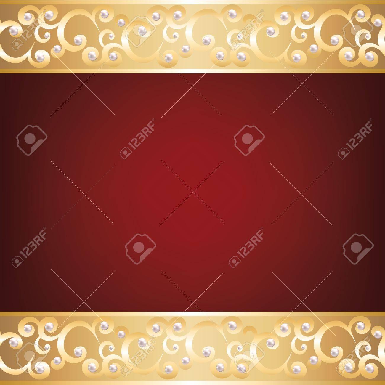 arrière-plan avec cadre bijoux en or et perles clip art libres de