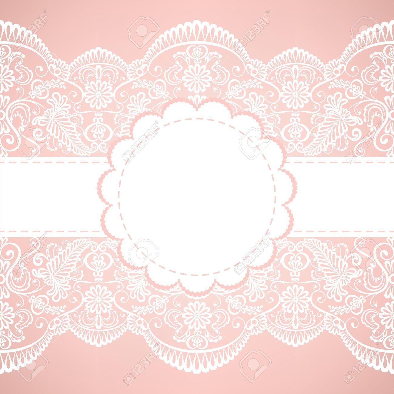 Vorlage Für Hochzeit, Einladung Oder Grusskarte Mit Spitze Stoff  Hintergrund Lizenzfreie Bilder   18375473