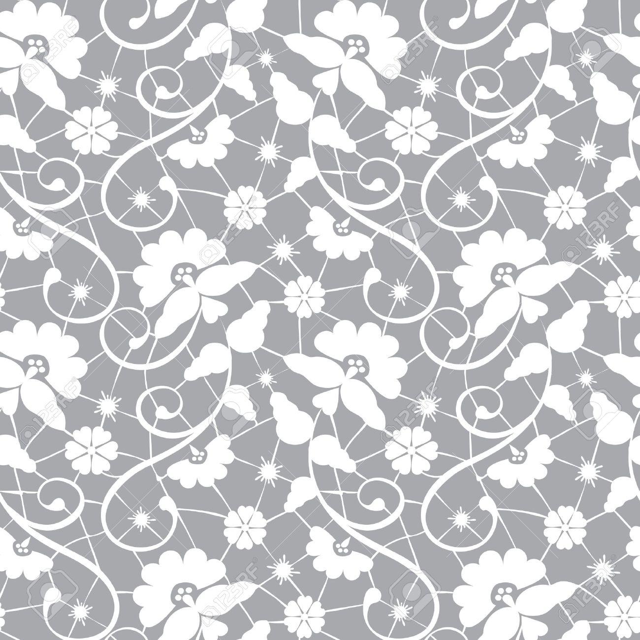 ef8ba6bcc Foto de archivo - Seamless patrón floral de encaje blanco sobre fondo gris