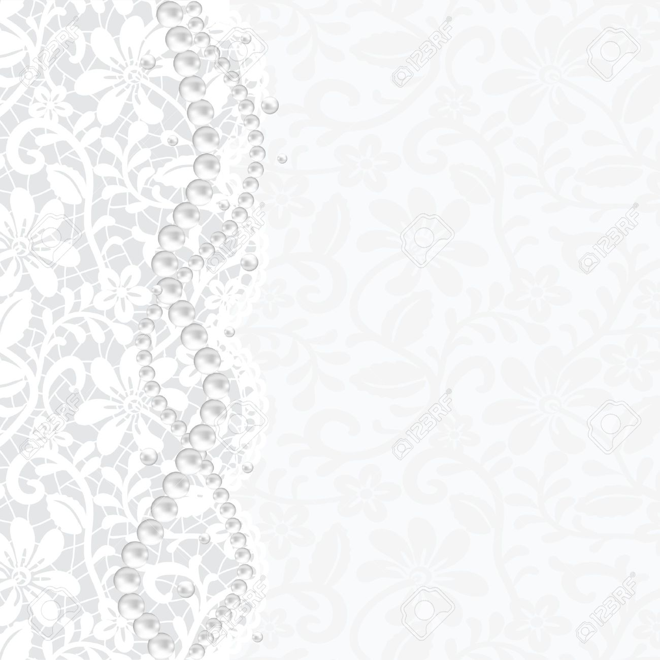 Wedding Invitation Or Greeting Card With Lace Background And