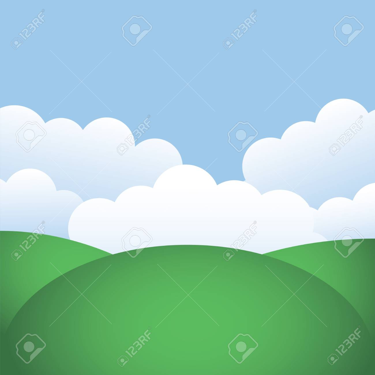 Green hills and blue sky with clouds Stock Vector - 19577680