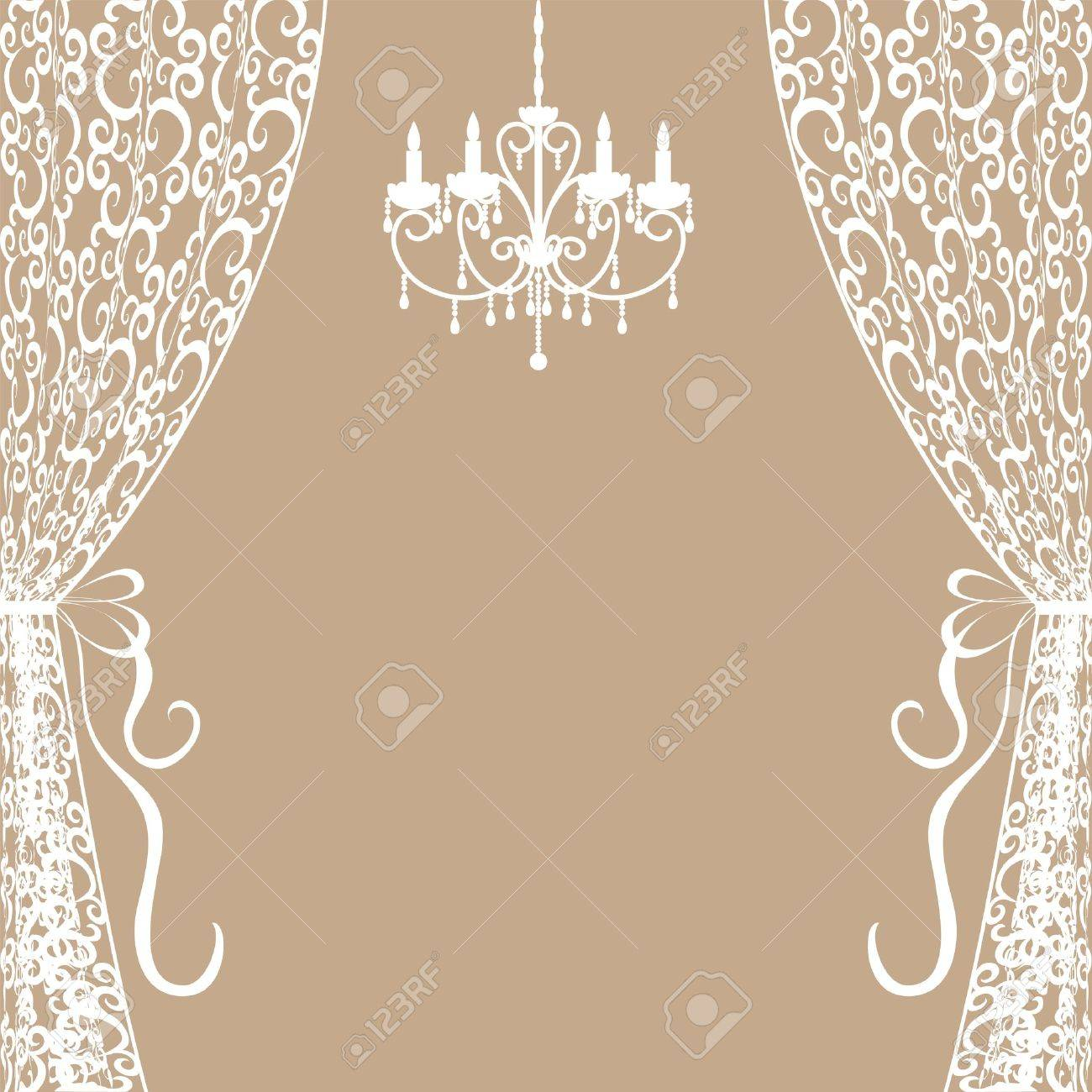 Chandelier Curtains: Vector - Vintage card with chandelier and curtains,Lighting