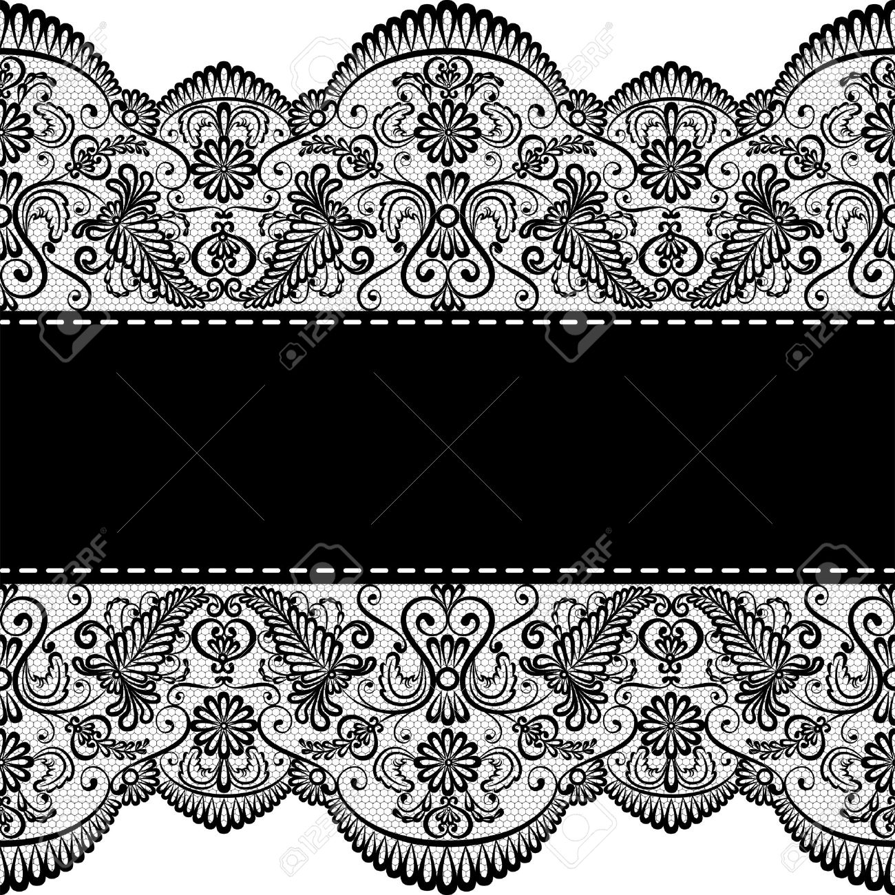 template for wedding invitation or greeting card with lace border
