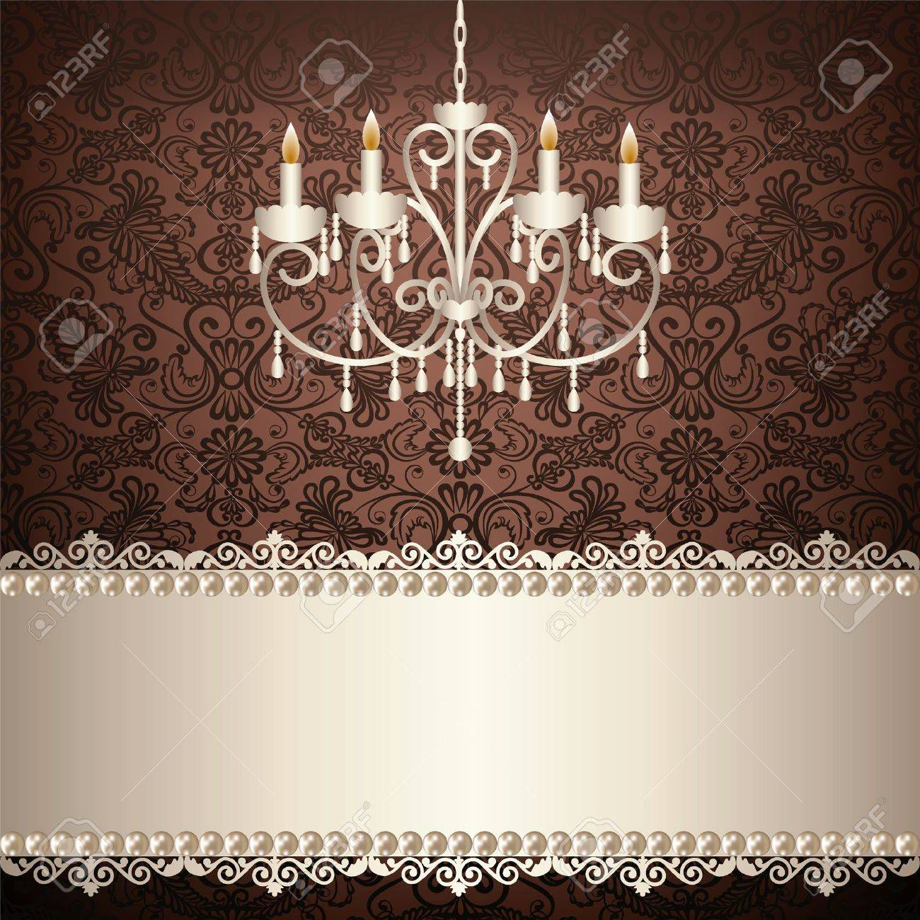 Antique chandelier light in the room with vintage wallpaper antique chandelier light in the room with vintage wallpaper stock vector 19907775 arubaitofo Gallery