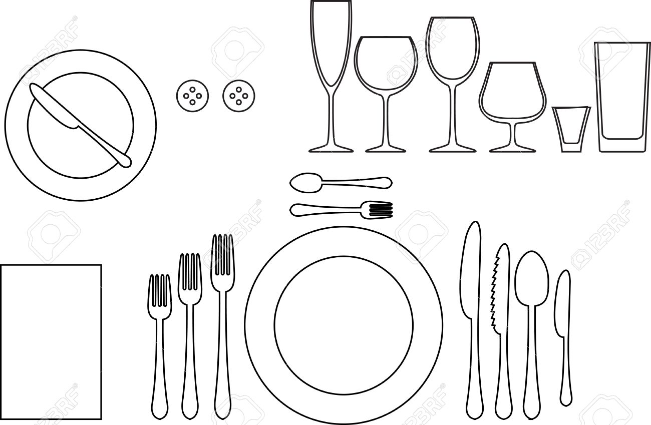 Outline silhouette of tableware Etiquette proper table setting Stock Vector    19846177Outline Silhouette Of Tableware Etiquette Proper Table Setting  . Proper Table Setting Pictures. Home Design Ideas